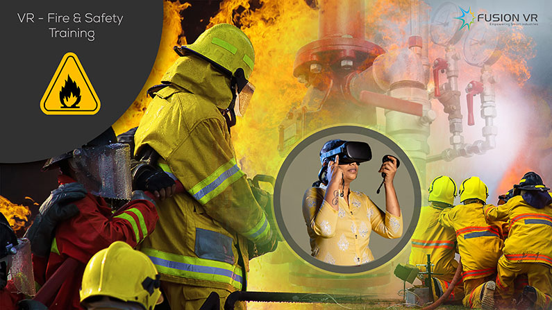 A trainee taking the fire & safety training for oil and gas industry by using Virtual Reality (VR)